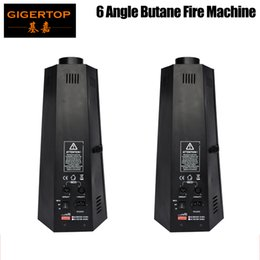 Discount stage fire light 2pcs Lot 6 Angle 200W stage fire Machine Flame Projectors Spray Fire Machine Controlled by DMX512 and Manual Stage Light fire machine