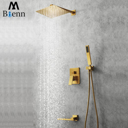 square rain showers UK - M Boenn Rain Shower Systems Hot and Cold Shower Set Wall-mounted ShowerHeads Bathroom Faucet Mixer Tap Brushed Gold Shower Combo