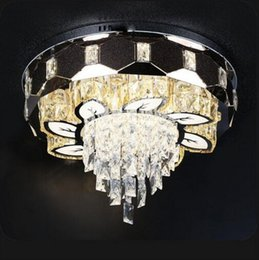 dimmable pendant lights UK - Cgjxs Lustre Crystal Ceiling Lights Dimmable 3 Color K9 Crystal Flush Light Living Room Home Lighting Decoration Myy