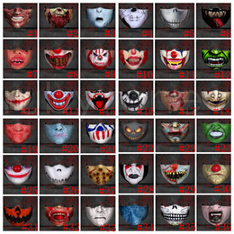 Wholesale funny faces online – design Hallowmas Scary Face Mask PM2 Dustproof Funny Clown Skull Masks Washable Anti Dust Printing Designer Masks styles RRA3581