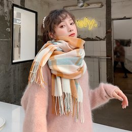 warm comfortable scarfs Australia - New arrival fashion temperament high quality knit comfortable warm long scarf women tassel outdoor sweet elegant plaid scarf