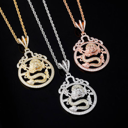 man pendant gold dragon 2021 - Vintage Chinese Dragon Hip Hop Necklaces Luxury Bling Zircon Pendant Necklaces Fashion 18K Gold Rhodium Plated Men Women Designer Necklaces