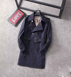 Wholesale blue long trench for sale - Group buy 20ss classic hot selling men s and women s fashion British mid length trench coat British designer double breasted slim belt belt