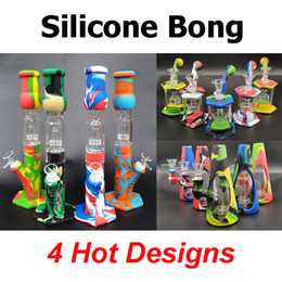 Silicone Bongs Percolators Perc Removable Straight Water Pipes Glass bong Smoking Bong With Glass Bowl Mini Bongs With Quartz Banger on Sale