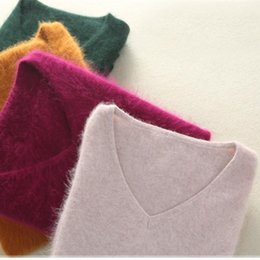 Wholesale women s pure cashmere sweater resale online - Autumn Winter Women V neck Warm Pullover Pure Color Mink Cashmere Sweaters Women Knitted Soft Sweater S XL color