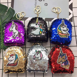 Wholesale Girls Mermaid Unicorn Glittering Sequin Coin Purse With Cute Plush Ball Money Pouch Mini Wallet Bag Zipper Earphone Package