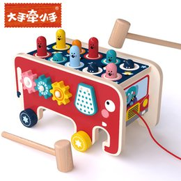 Wooden cartoon elephants drag toys,Happy whack-a-mole Eye and hand quick whack a mole Hand-eye coordination best on Sale