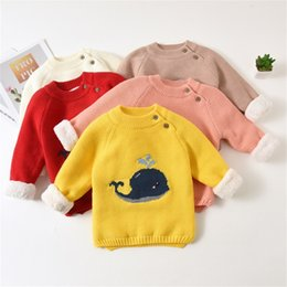 Discount whale baby clothing Warm Children's Sweaters Baby Boys Girls Kid Winter Clothing Infant Cartoon Whale Design Pullovers Toddler O-neck V