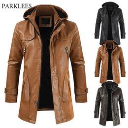 Wholesale mens leather jacket brands resale online – Vintage Hooded Motorcycle Jacket Men Brand New Mens Faux Leather Jackets Coat Winter Windbreaker Outerwear Veste Homme XL