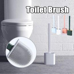 Silikon Toilettenbürste Wand Platz sparen Pinsel Mounted Flachkopf Flexible weiche Bürsten mit schnelltrockn Halterset Badezimmer Zubehör DHD1646 im Angebot