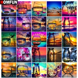"paintings bottles NZ - HOMFUN Diy 5d Diamond Painting ""Sunset cup bottle scenery"" Cross Stitch Square Round Diamond Embroidery Handwork Rhinestone Art"