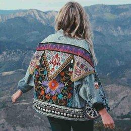 Wholesale denim coats for women resale online – Boho Denim Jacket For Women Autumn Floral Appliques Embroidery Vintage Coat Long Sleeve Outerwear Female Jacket Coatee B025