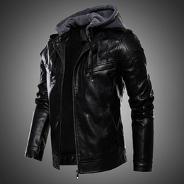 Wholesale mens fur lined leather jackets for sale - Group buy Mens Jacket PU Leather Jacket Men Hooded Coat Fur Lined Motorcycle Fashion Coat Autumn Winter Plus Size XL XL