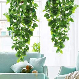 Discount grape vine wall Artificial Green Plants Hanging Ivy Leaves Radish Seaweed Grape Fake Flowers Vine Home Garden Wall Party Decoration