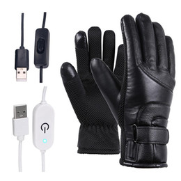 Winter Motorcycle Electric Heated Gloves Windproof Cycling Warm Heating Touch Screen Skiing Gloves USB Powered For Men Women on Sale
