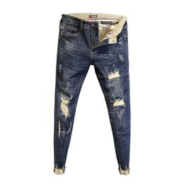 Wholesale raw wash jeans for sale - Group buy Fashion No ironing low waist washing raw edge slim feet pants men s spring ripped holes ankle length jeans