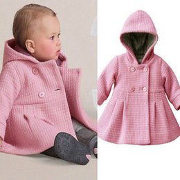 Wholesale hooded pea coats for sale - Group buy Pink Purple Girls Winter Warm Hooded Coat New Baby Toddler Girls Fall Winter Horn Button Hooded Pea Coat Outerwear Jacket Y200831
