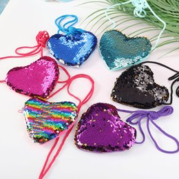 tools lanyards NZ - Fashion Heart Shape Sequins Purse Wallet With Lanyard Children Girl Shiny Wallet Lady Coin Purse Handbag Party Zipper Clutch Bag DBC VT0815