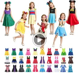 kids cotton frocks wholesale NZ - Multicolor Little Girls Prinss Summer Cartoon Children Kids prinss dresses Casl Clothes Kid Trip Frocks Party Costume free DHL ship