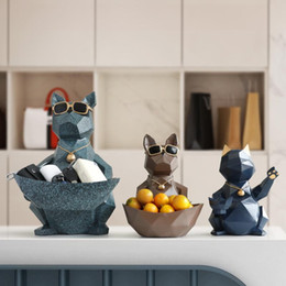 carving resin Australia - Cat Dog Figurines Resin Moden Crafts Animals Miniature Cute Ornaments for Home Office Decoration Storage Bowl Carved Collectible