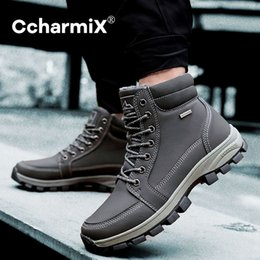 new shoe design male UK - CcharmiX Men Work Boots Outside Ankle Boots For Males Design Comfy Warm Fur New Lace-up Fashion Shoes Men Footwear