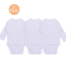 Wholesale baby kimonos for sale - Group buy 3pcs Baby Clothes White Bodysuit Newborn Unisex Baby Long Sleeve Kimono Bobysuit Side Snap Boy Girl Overall Preemie M