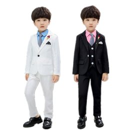 boys formal jackets Australia - Formal Sets Flower Kids Wedding Party Costume Kid Boys White Black Blazer Vest Pants Clothing Set Child Waistcoat Suit