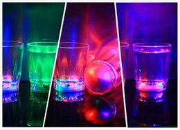 wholesale wine glasses NZ - Glowing wine Glasses wine tumbler Mini Luminous Flash light LED Glass Small Colorful KTV concert bar special Drinkware Flashing coffer mugs