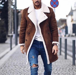 Wholesale mens yellow leather jacket resale online - Fashion Mens Winter Jacket Fashion Thick Warm Fleece Faux Leather Coats Brand New Double Breasted Man Designers Clothes
