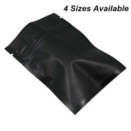 food grade plastic packaging bags UK - 4 Sizes Matte Black 100pcs Lot Reclosable Foil Aluminum Zipper Packaging Bags for Coffee Tea Powder Mylar Bags Mylar Foil Food Grade Pouch