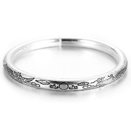 bangle silver dragon Australia - 1pcs Silver Color Lotus Dragon and Phoenix Pattern Carve Bangle For Women Female Open Bangles & Bracelet Jewelry Gifts