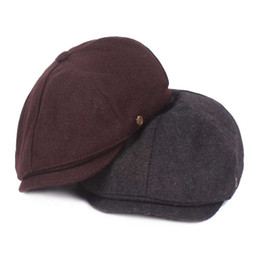 red berets UK - Autumn Winter Wool Felt Newsboy Caps Women Men Beret Old Man Retro Octagonal Cap Art Unisex Casquette Male Trilby
