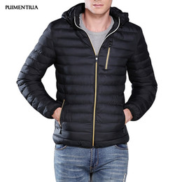 Wholesale blue zip up jacket resale online – Puimentiua Men s Hooded Puffer Jacket Fall Winter Casual Thicken Slim Softshell Warm Coat Outdoor Male Zip Up Homme