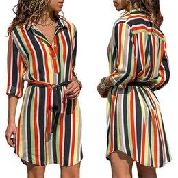 Wholesale button up mini dress resale online – AutumnDress Women Striped Print Lace Up Beach Dress Elegant Party Dresses With Button Vestido De Fiesta Plus Size S to XL