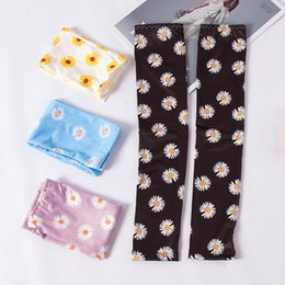 cooling arm sleeves UK - Summer Floral Long Arm Sleeves Women Cool Ice Silk Daisy Sleeves Cuffs Mesh Sun Protective Ridding Cycling Sleeves 2pcs lot pair LJJA4093