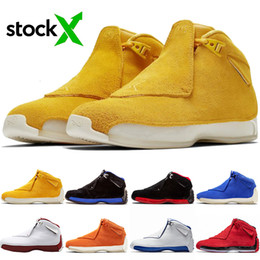 mens blue suede dress shoes NZ - Cheap Hot Sell Men Basketball Shoes 18 Fashion Suede Yellow Orange Blue Toro Sport Jumpman Black Royal Mens Trainer Sneakers