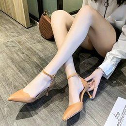 Fashion Buckle Pumps Women Pointed Toe Sandals High Heels Summer Office Pu Leather Thin High Heels Women Stiletto Heel Sandals HOkT#