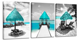 painted art chairs NZ - Seascape Canvas Wall Art Seaside Lounge Chair Picture Beach Painting for Living Room Decor