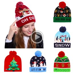 santa beanies Australia - 14 Dens Kids Christmas Knitted LED Lights Beanie Santa Claus Elk Snowflake Winter hat beanies For Kids Adults Christmas Party 09