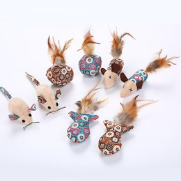 pet mice toys Canada - 4pcs lot Portable lovely Cat Toys Mouse Fish Ball Feather Toy With Mint Funny Cat Teaser Interactive Pet Catnip Toy