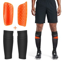 football calf sleeves Australia - Soccer Shin Guards with Compression Socks Calf Sleeves Children Breathable Shin Pads Leg Protect Adult Kids Football Equipment
