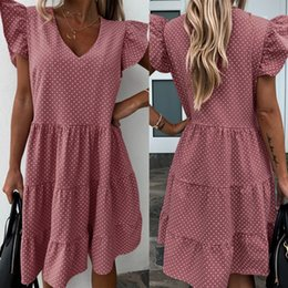 pink bubble dresses UK - Fashion design European and American dress bubble sleeve V-neck wave dot sweet floured cake skirt ZC3709