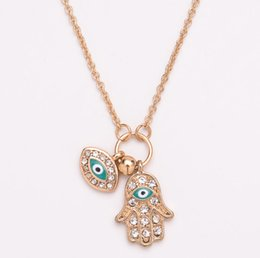 diamond fatima hand Australia - Factory wholesale foreign trade alloy drip oil hand of Fatima necklace Turkey blue eyes diamond jewelry sweater chain