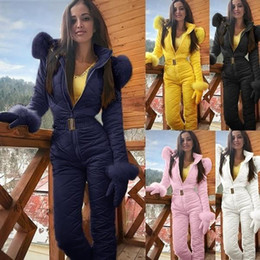 Wholesale jumpsuit women hoodie for sale – designer BKLD Keep Warm Winter Women Fashion Outdoor Climb Ski Snowsuit Sashes Zipper Long Sleeve Hoodie Jumpsuit Female Faux Fur Outwear T200917