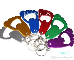 small bottle opener gifts wedding NZ - Creative Corkscrew Wedding Gift Aluminum Openers Small Foot Shape Beer Bottle Opener With Key Chain Easy To Use High Quality 0 75sb