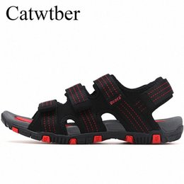 Catwtber Summer Sandals Men Leather Classic Roman Sandals 2018 Outdoor Sneaker Beach Rubber Flip Flops Men Water Trekking Sandal Gladi i45j#