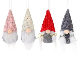 doll knitting NZ - Christmas Santa Gnome Plush Doll Pendant Knitted Tree Hanging Ornament with Sequins for Christmas Party Gifts