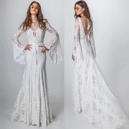 Wholesale crochet t shirts online – design 2020 Bohemia Lace Beach Wedding Dress Vintage Mermaid Long Sleeve Vestido De Noiva New Crochet Country Wedding Dress Bridal Gowns