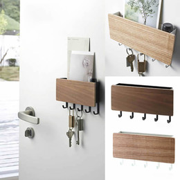 home key rack Canada - Key Hanger Decorative Simple Small Wall Hooks Space Saving Easy Install Home Vintage Wooden Door Back Storage Rack Holder