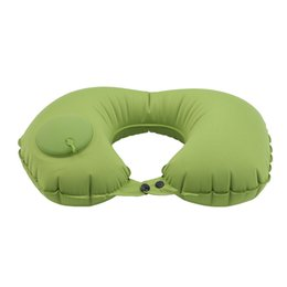 travel neck massage pillow NZ - Inflatable U-shaped Pillows Travel Outdoor Portable Pillow Neckrest Travel Folding Slow Rebound Train Plane Office